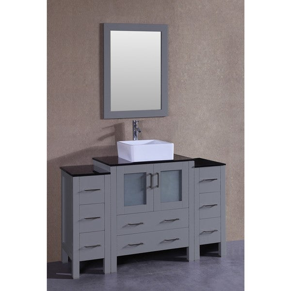 Bosconi 54-inch Grey Single Vanity Set with Black Tempered Glass Tops, Mirror, and Faucet 21535651