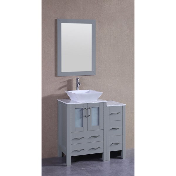 Bosconi 36-inch Single Vanity Cabinet with Bi-level White Marble Countertops