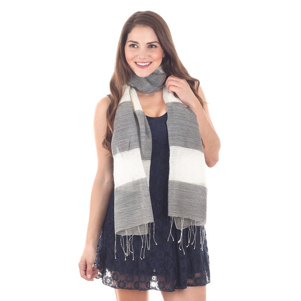 Grey and White Stripe Scarf