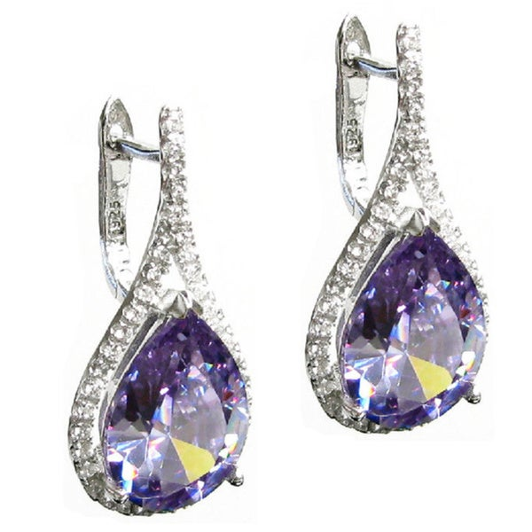 Queenberry Sterling Silver Teardrop Tanzanite CZ Crystal Leverback Earring Set