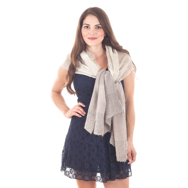 Wool and Silk Scarf Taupe Scarf