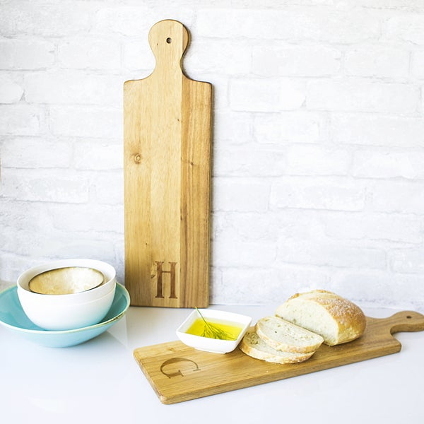 Wood and Ceramic Personalized Acacia Bread Serving Board and Dish