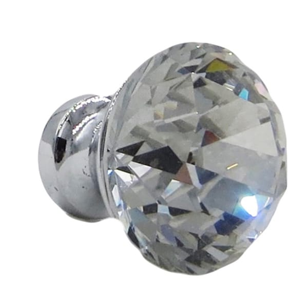 Crystal Clear Glass Zinc Base 1-inch Diamond-shaped Drawer Door Pulls (Set of 6)