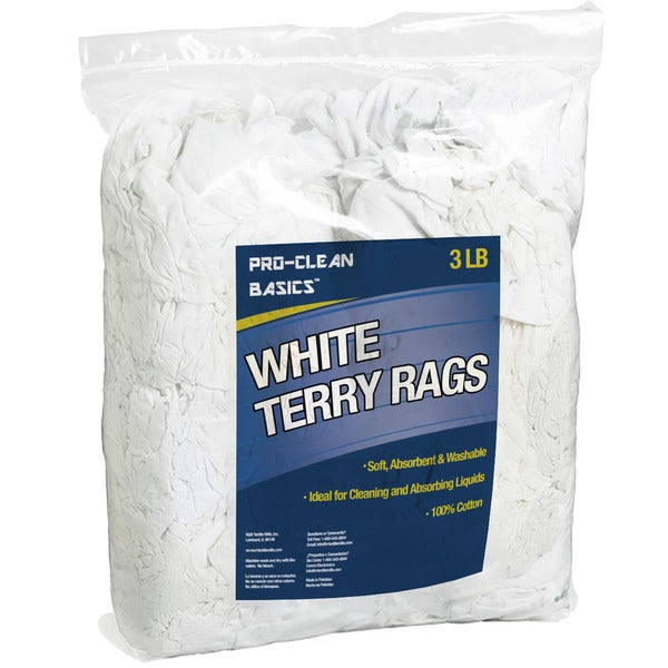 Pro-Clean Basics White Cotton Terry Cloth 3-pound Remnant Bag