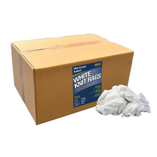 Pro-Clean Basics White Cotton T-shirt Knits (50 Pounds)