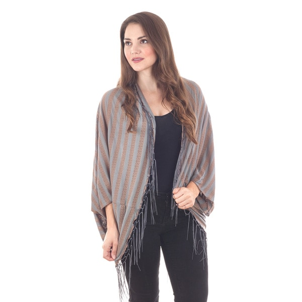 Grey and Taupe Striped Poncho