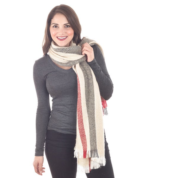 Ivory, Red, and Grey Striped Scarf