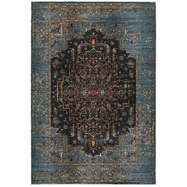 Regal Medallion Blue/Navy Polypropylene and Polyester Area Rug (9'10 x 12'10) -  Style Haven