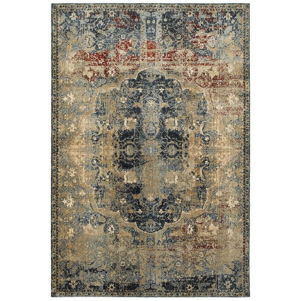 Regal Traditions Gold/Blue Polypropylene and Polyester Area Rug (9'10 x 12'10) -  Style Haven