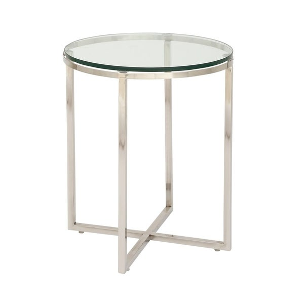 Marvelous Stainless Steel Glass Side Table 21537374