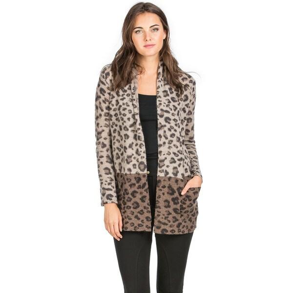 Premise Women's Brown Cashmere 2-Tone Animal-print Cardigan