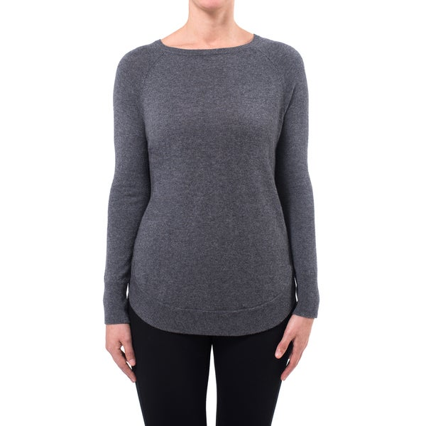 Premise Cashmere Women's Button Back Detail Shirttail Hem Cashmere Sweater