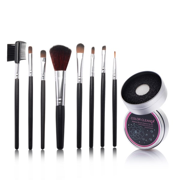 Zodaca 8-piece Set Black Makeup Brushes with Pouch Bag/ Makeup Brush Color Removal Dry/ Wet Duo Sponge 21539383