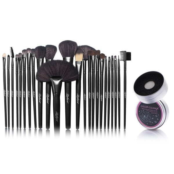 Zodaca 24-piece Set Black Makeup Brushes with Pouch Bag/ Makeup Brush Color Removal Dry/ Wet Duo Sponge 21539389