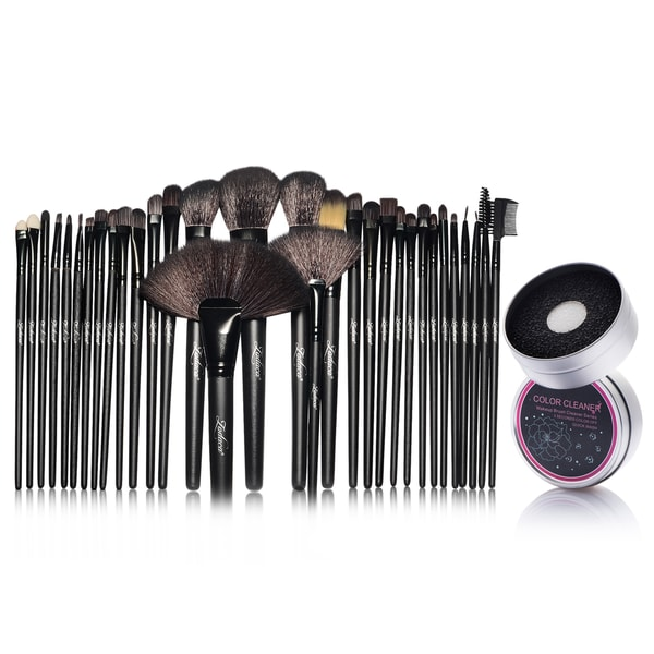 Zodaca 32-piece Set Black Makeup Brushes with Pouch Bag/ Makeup Brush Color Removal Dry/ Wet Duo Sponge 21539391
