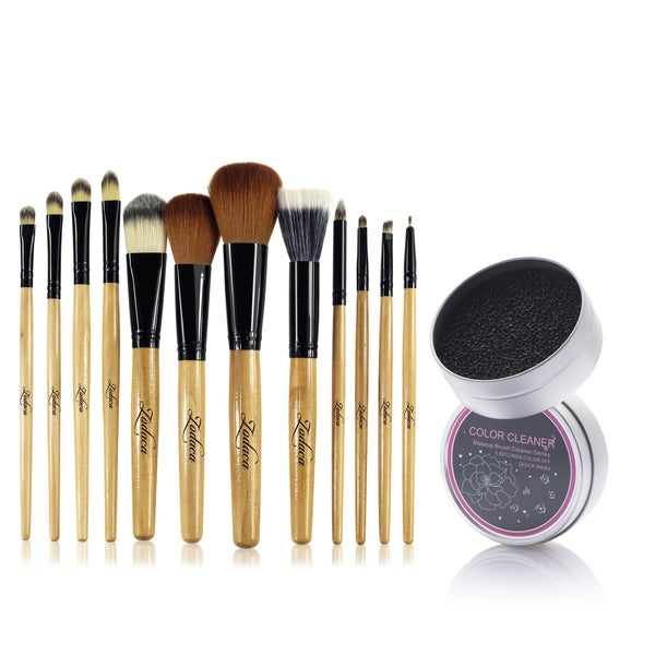 Zodaca 12-piece Set Brown/ Black Leopard Makeup Brushes with Pouch Bag/ Makeup Brush Color Removal Dry Sponge 21539397