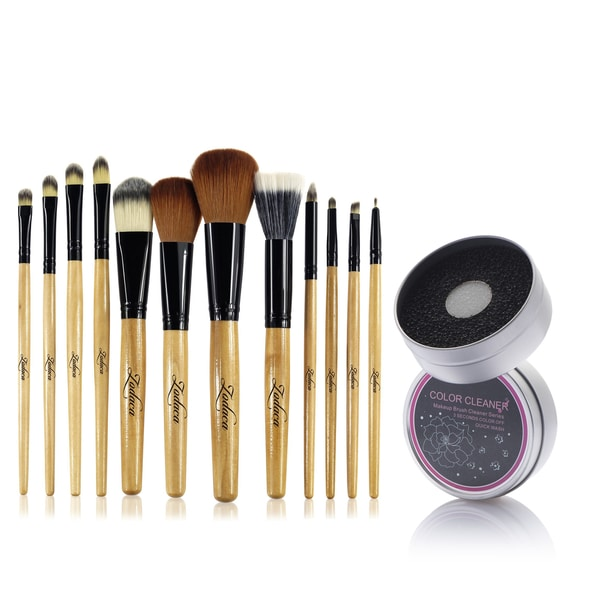Zodaca 12-piece Set Brown/ Black Leopard Makeup Brushes with Pouch Bag/ Makeup Brush Color Removal Dry/ Wet Duo Sponge 21539398
