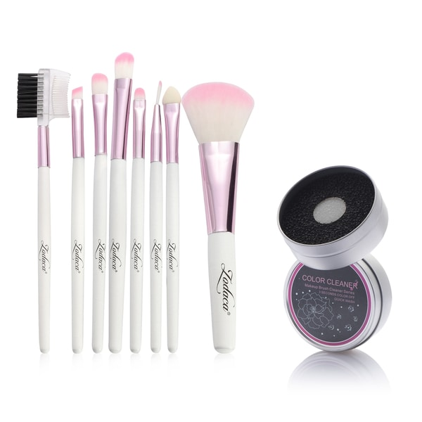 Zodaca 8-piece Set Pink/ White Makeup Brushes with Pouch Bag/ Makeup Brush Color Removal Dry/ Wet Duo Sponge 21539409