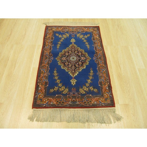 EORC Blue Wool/Silk Hand-knotted Isfahan Rug (2'9 x 4'3) 21539965