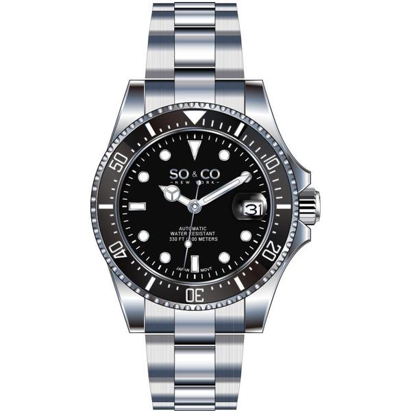 SO&CO New York Men's Stainless Steel Link Bracelet Unidirectional Diver Watch