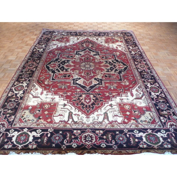 Serapi Heriz Oriental Hand-knotted Rust Red Wool Rug (8'11 x 11'11) 21540205
