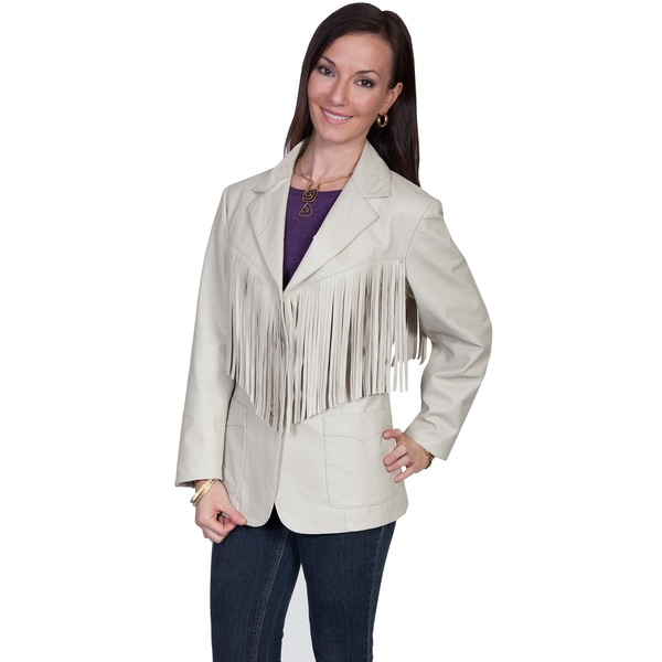 Scully Women's Cream Leather Fringed Jacket
