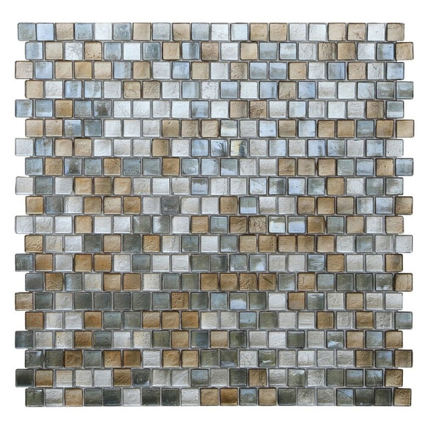 Opalescent Grey and Gold Glass Mosaic Tiles