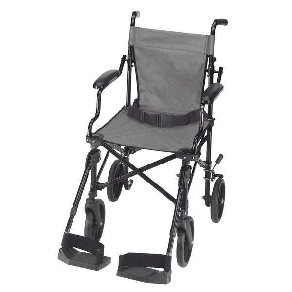 DMI Lightweight Folding Transport Chair Travel Wheelchair with Carrying Tote