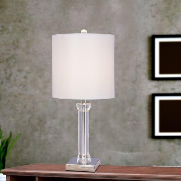 25.5 inch Clear Crystal & Polished Nickel Metal Table Lamp w/LED Nightlight