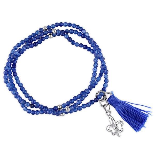 Miadora Dyed Blue Jade Blue Tassel and Fleur-De-Lis Charm Bead Bracelet in Sterling Silver
