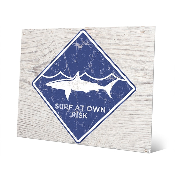Shark Warning' Blue Metal Wall Art