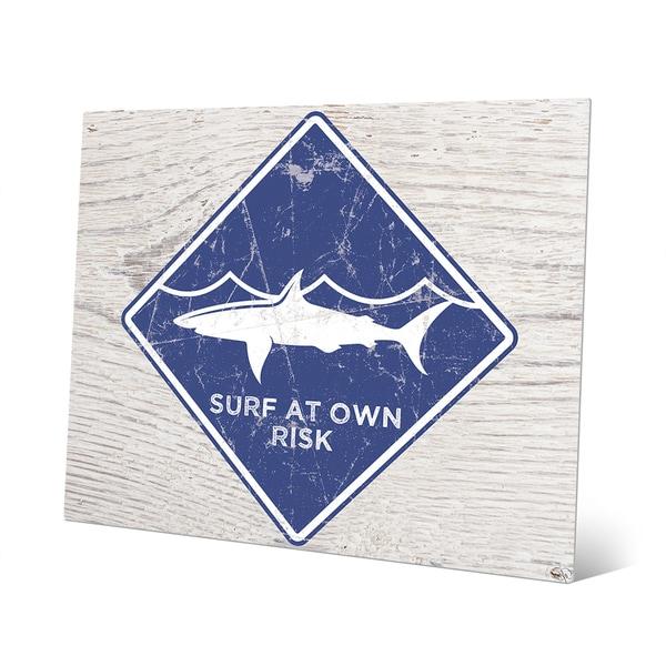 Shark Warning' Blue Metal Wall Art