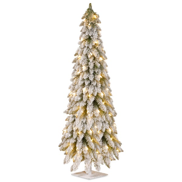6-foot Snowy Down-swept Artificial Tree With Clear Lights
