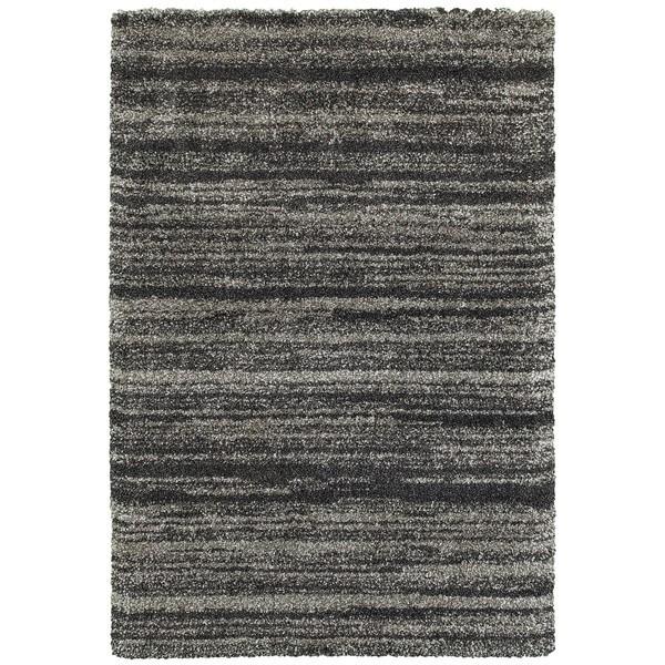 Shadow Stripes Grey/Charcoal Polypropylene Shag Rug (3'10 x 5'5)