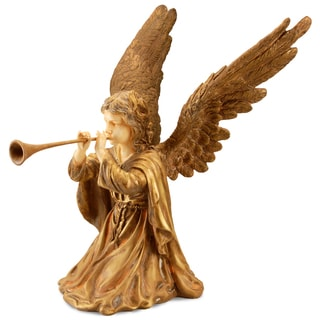 National Tree Company Gold Polystone 24-inch Angel Figurine with Horn