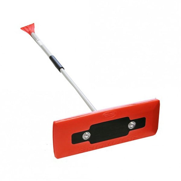 Snow Joe illum-n-Broom LED Lighted Red 4-in-1 Snow Broom + Ice Scraper