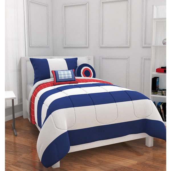 Navy/White Rugby Stripe 4-piece Comforter Set