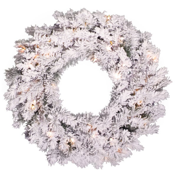Vickerman 30-inch Flocked Alaskan Pine Wreath with 120 Tips