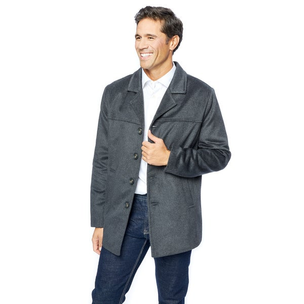 Men's Grey Wool Blend Car Coat