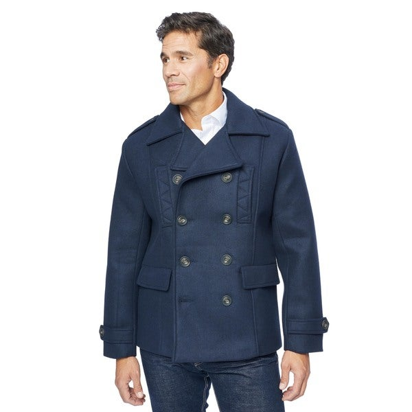 Lee Cobb Men's Navy Wool Blend Pea Coat