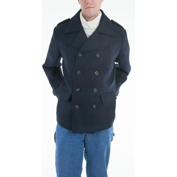 Lee Cobb Men's Navy Wool Blend Pea Coat