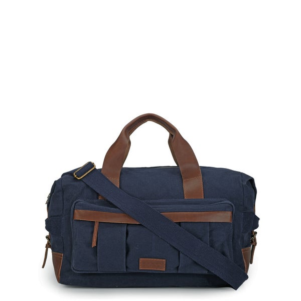 Phive Rivers Leather Duffle Bag/ Weekender Bag (Blue)