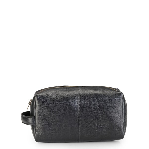Phive Rivers Leather Wash Bag/Toilet Kit (Black)