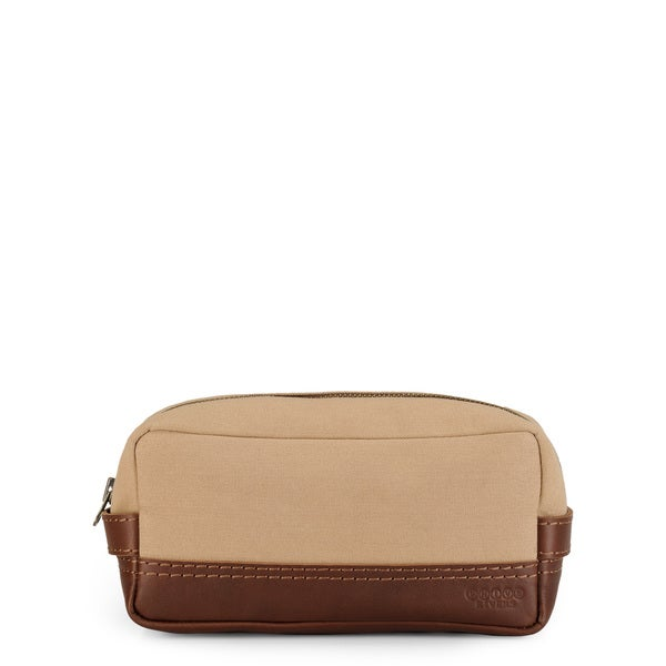 Phive Rivers Leather Wash Bag/Toilet Kit (Khaki)