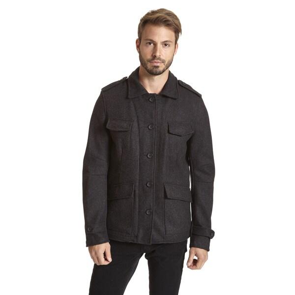 Excelled Men's Wool Blend Multi Pocket Front Jacket