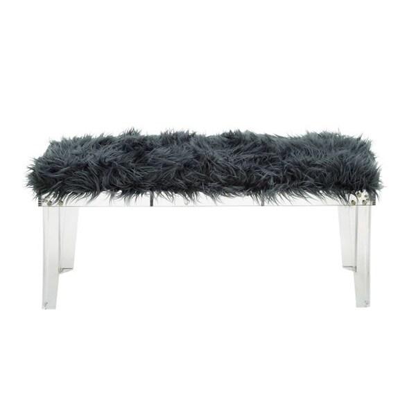 Classy Acrylic Grey Fur Bench