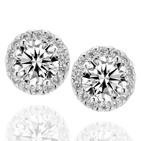 Sterling Silver 6mm Round Cubic Zirconia Halo Stud Earrings (China)