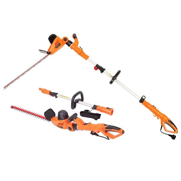 Garcare 4.8-Amp Multi-Angle Portable Hedge Trimmer with 20-Inch Laser Blade 21548149