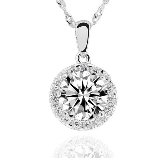Sterling Silver 8mm Round Cubic Zirconia Halo Pendant 18-inch Chain Necklace (China)