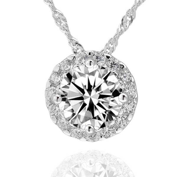 Sterling Silver 7mm Round Cubic Zirconia Halo Pendant Necklace (China)